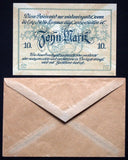 "EISLEBEN 1918 ""Mansfelder Copper Shale"" 10mk Grossnotgeld + Robert Ball envelope"