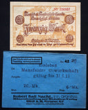 "EISLEBEN 1918 ""Mansfelder Copper Shale"" 20mk Grossnotgeld + Robert Ball envelope"