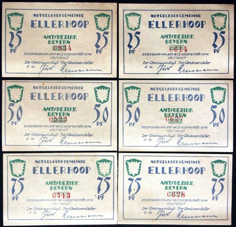 ELLERHOOP 1921 *RARE* Jürs-Reumann signature complete set! German Notgeld