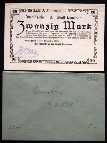 ELMSHORN 1918 RARE 20 Mark Grossnotgeld in 1920s Robert Ball dealer envelope! German Notgeld