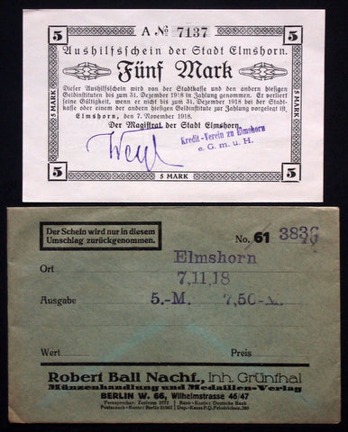 "ELMSHORN 1918 XX-RARE ""Kredit-Verein"" 5 Mk Grossnotgeld in 1920s Robert Ball envelope!"
