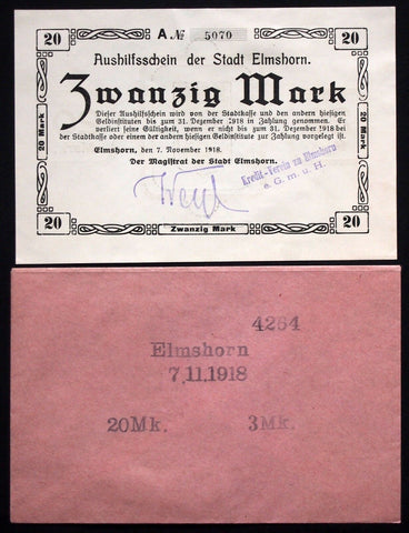 "ELMSHORN 1918 XX-RARE ""Kredit-Verein"" 20 Mk Grossnotgeld in 1920s Robert Ball envelope!"