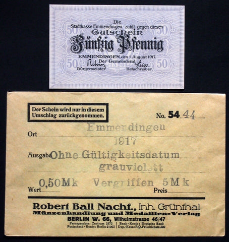 EMMENDINGEN 1917 50 Pf in 1920s Robert Ball dealer envelope! German Notgeld