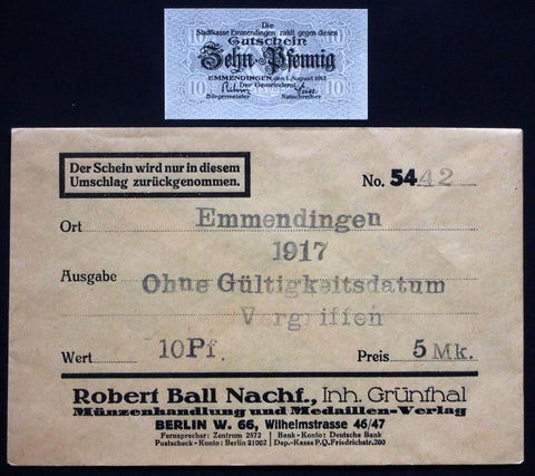 EMMENDINGEN 1917 10 Pf in 1920s Robert Ball dealer envelope! German Notgeld