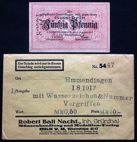 EMMENDINGEN 1917 50 Pf w/serial no. in RARE Robert Ball envelope! German Notgeld