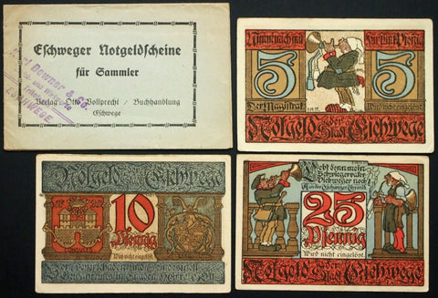 "ESCHWEGE 1922 ""Karl Downer Sports Jerseys"" XX-RARE Uncataloged Overprint complete series + original booklet German Notgeld"