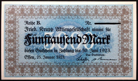 "ESSEN 1923 XX-RARE Unissued Specimen! ""Friedrich Krupp Co."" 5000 Mark Inflation Notgeld"