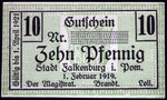 FALKENBURG 1919 SPECIMEN 10 Pf no serial! Notgeld Germany today Poland Muster