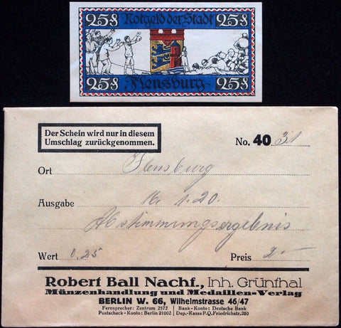 "FLENSBURG 1920 ""Tug of War"" w/o overprint in RARE Robert Ball Envelope! Notgeld"