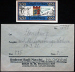 "FLENSBURG 1920 ""Tug of War"" date overprint in RARE Robert Ball Envelope! Notgeld"
