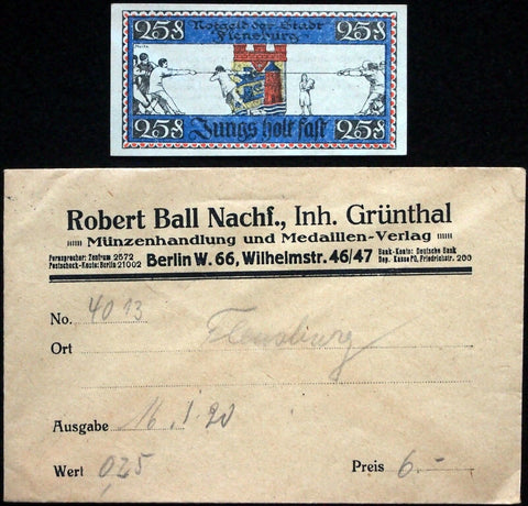"FLENSBURG 1920 ""Tug of War Undecided"" in RARE Robert Ball Envelope! Notgeld"