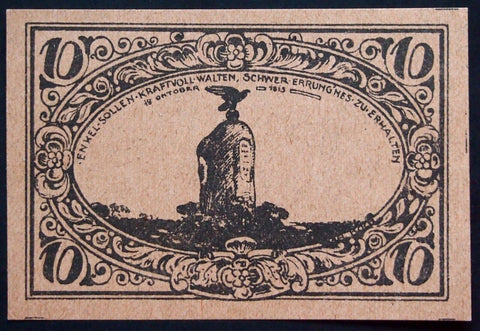 FREIENWALDE 1920 XX-RARE Test Print on brown colored paper! 10 Pf German Notgeld