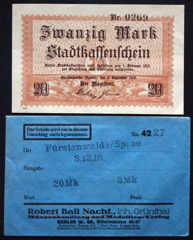 FÜRSTENWALDE 1918 20 Mark Grossnotgeld + orig. Robert Ball envelope! Germany