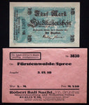 FÜRSTENWALDE 1918 5 Mark Grossnotgeld + orig. Robert Ball envelope! Germany