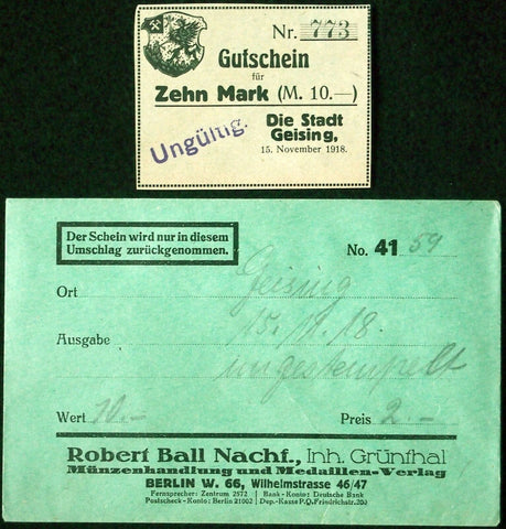 GEISING 1918 10 Mark Grossnotgeld in RARE Robert Ball Envelope! German Notgeld