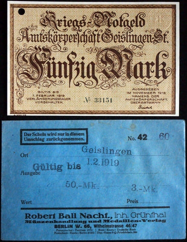 GEISLINGEN 1918 50 Mark Grossnotgeld in RARE Robert Ball Envelope German Notgeld