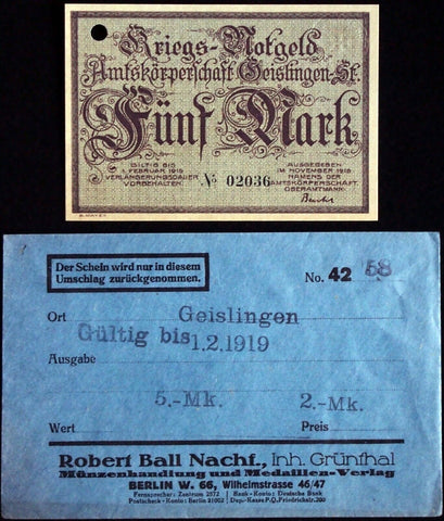 GEISLINGEN 1918 5 Mark Grossnotgeld in RARE Robert Ball Envelope! German Notgeld
