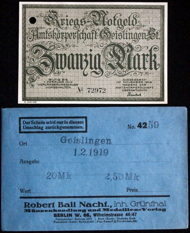 GEISLINGEN 1918 20 Mark Grossnotgeld in RARE Robert Ball Envelope German Notgeld
