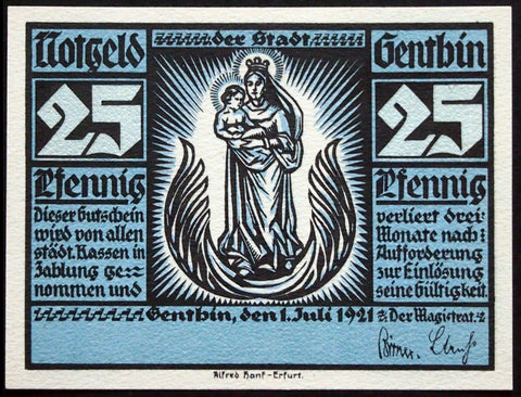 "GENTHIN 1921 UNCATALOGED SPECIMEN ""Virgin Mary & Jesus"" 25 Pf Notgeld Germany"