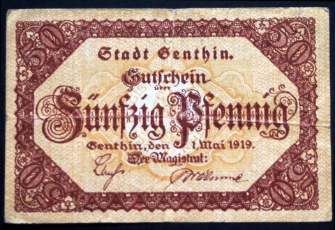 GENTHIN 1919 RARE 50 Pf circulating Notgeld Germany