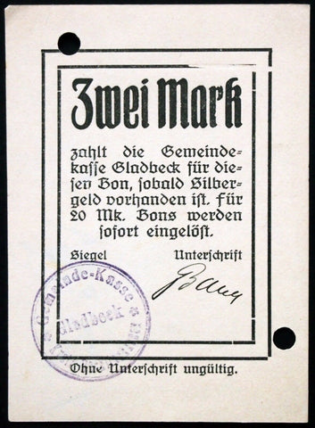 GLADBECK 1914 Original!! 2 Mark Early WWI German Notgeld