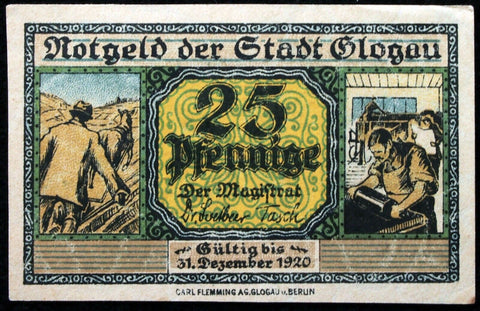 GLOGAU 1919 XX-RARE SPECIMEN 25 Pf Circulating German Notgeld today Poland Schlesien