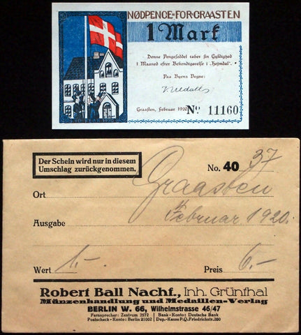 "GRAVENSTEIN 1920 ""Plebiscite"" Robert Ball Envelope! German Notgeld Graasten"