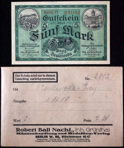 GREIZ and ZEULENRODA 1918 5 Mark Grossnotgeld in RARE Robert Ball Envelope Notgeld