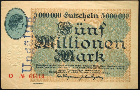"HAMBORN 1923 Radar, Possible Specimen! ""Thyssen, Lohberg"" 5 Million Mk Notgeld"