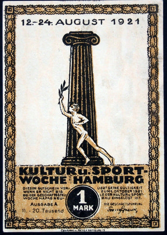 "HAMBURG 1921 *error* missing red underprint!! ""Culture & Sport Wk"" 1mk Notgeld"