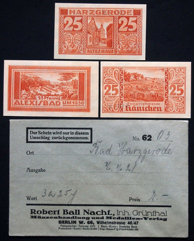 HARZGERODE 1921 3x25 Pf + rare Robert Ball envelope! German NotgeldHARZGERODE 1921 3x25 Pf + rare Robert Ball envelope! German Notgeld