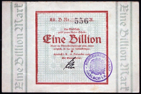 HASLACH 1923 1 Trillion Mark Weimar Hyperinflation German Notgeld Banknote