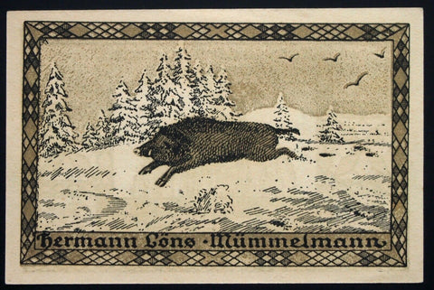 "HEMDINGEN exp. 1922 SPECIMEN single notes ""Wildlife Series"" German Notgeld"