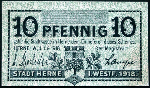 HERNE 1918 SPECIMEN 10 Pf circulating German Notgeld