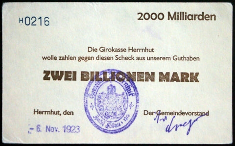 HERRNHUT 1923 *UNCATALOGED* 2 Trillion Mark Inflation Notgeld 2 Billionen