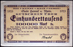 HONNEF 1923 SPECIMEN 100,000 Mark Inflation Notgeld Germany