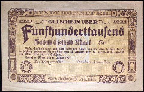HONNEF 1923 SPECIMEN 500,000 Mark Inflation Notgeld Germany