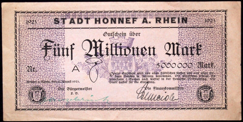 HONNEF 1923 SPECIMEN! 5 Million Mark Inflation Notgeld Germany
