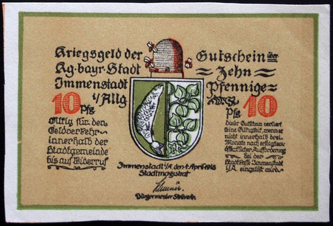 IMMENSTADT 1918 UNCATALOGED SPECIMEN Hand-Cut No Serial! German Notgeld