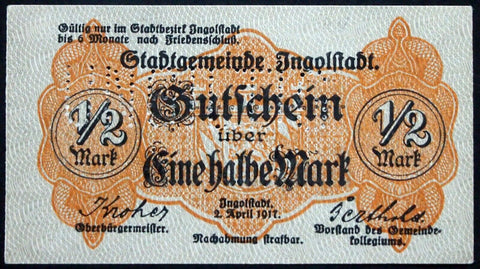INGOLSTADT 1917 XX-RARE SPECIMEN 1/2 Mark Circulating German Notgeld Bavaria
