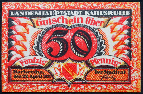 KARLSRUHE 1920 very striking small red German Notgeld raised seal