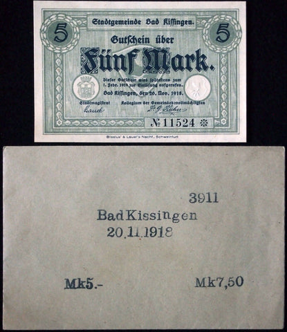 BAD KISSINGEN 1918 5 Mark Grossnotgeld in RARE Robert Ball Envelope! Notgeld