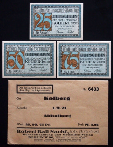 KOLBERG 1921 complete in 1920s Robert Ball envelope Notgeld Germany Kolobrzeg Po