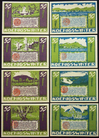 "KÖNIGSWINTER 1921 XX-RARE w/Red Stamp! ""Famous Rhine Quotes"" complete series German Notgeld"