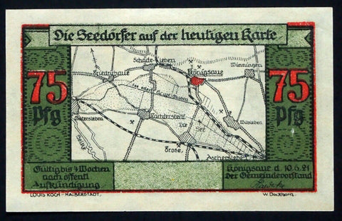 KÖNIGSAUE 1921 SPECIMEN 75 Pf Map Note w/o serial! German Notgeld