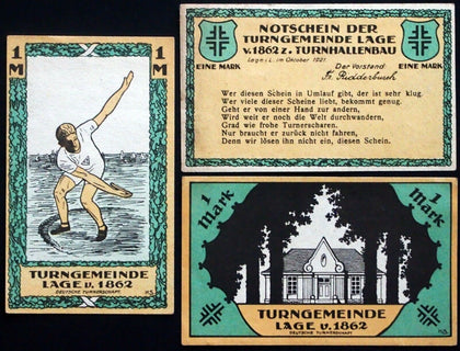 "LAGE 1921 ""Gymnastics Club of 1862"" rare complete sports set Germany Notgeld"