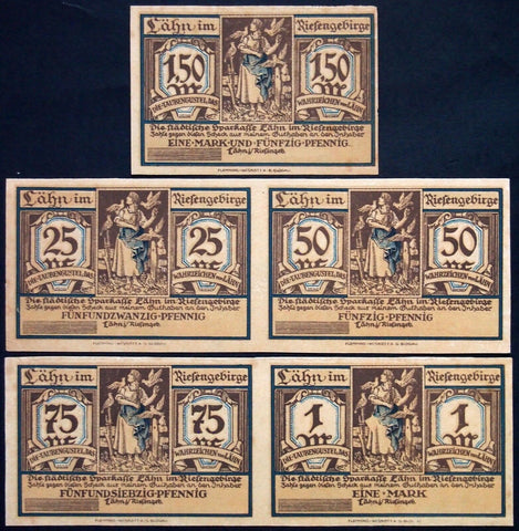 LÄHN 1922 *SPECIMEN COMPLETE SET* w/uncut notes! German Notgeld today Poland
