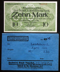 LANDSBERG (Bavaria) 10 Mark Grossnotgeld in RARE Robert Ball envelope! Notgeld
