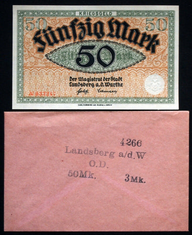 LANDSBERG (Brandenburg) 50 Mark Grossnotgeld in RARE Robert Ball envelope!