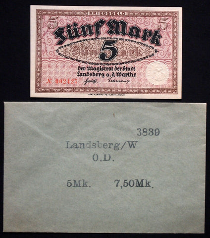 LANDSBERG (Brandenburg) 5 Mark Grossnotgeld in RARE Robert Ball envelope!